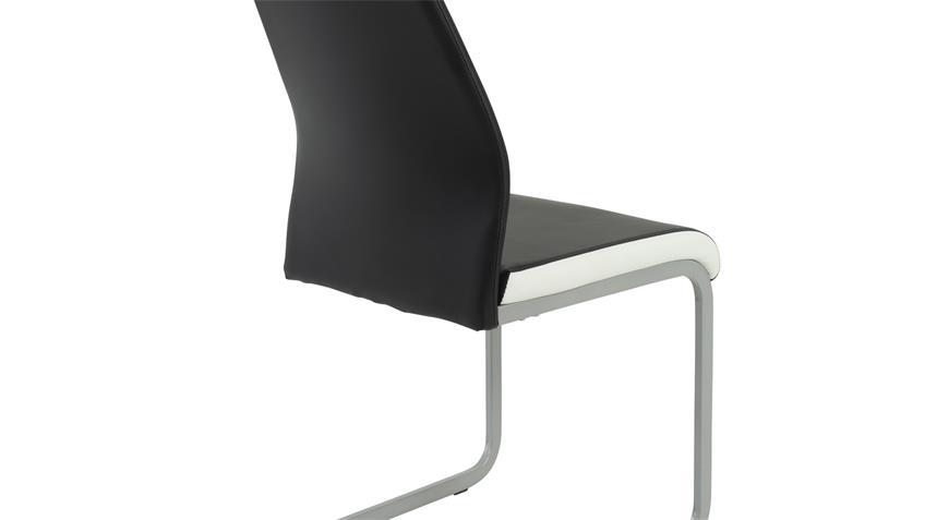 Schwingstuhl Tamara 4er Set Freischwinger Stuhl schwarz weiß
