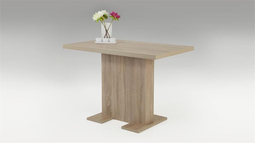 Tisch SASKIA Esstisch mit Säulengestell Sonoma Eiche 110x68