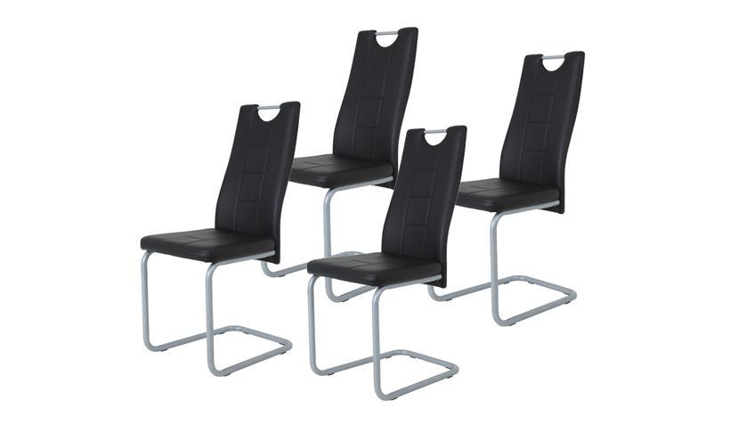 Schwingstuhl KIRSTEN 4er Set Esszimmer Stuhl schwarz