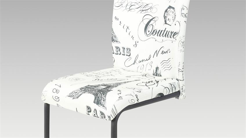 Schwingstuhl Poet 4er Set Esszimmer Stuhl Stoff bedruckt