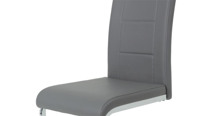 Schwingstuhl JOANA 4er Set Esszimmer Stuhl grau chrom