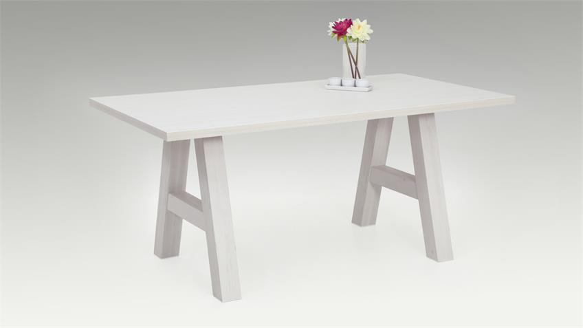 Esstisch ALMAT Tisch mit Stollen in A-Form Pinie weiß 168x90 cm