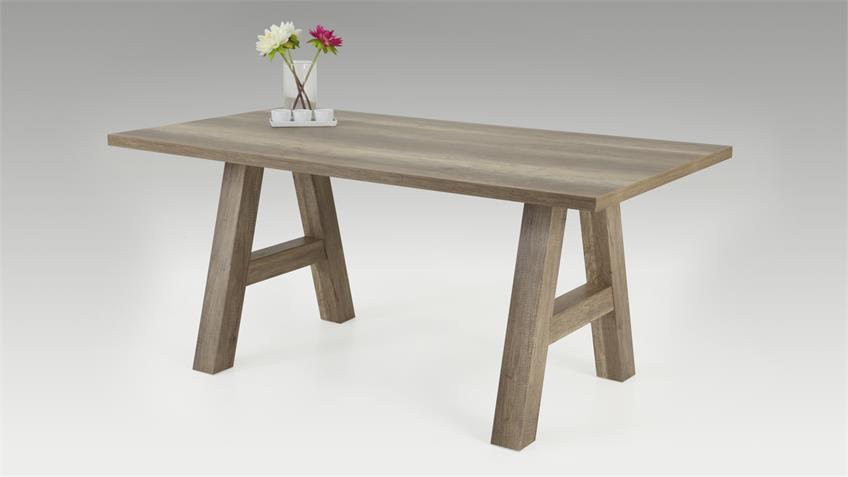 Esstisch ALMAT Tisch mit Stollen in A-Form Wildeiche 168x90 cm