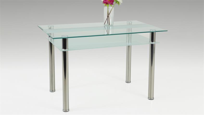 Tisch KATHARINA Klarglas satiniert mit Ablageboden 120x70 cm