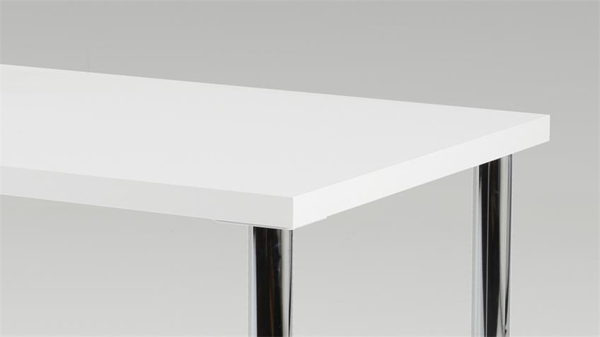 Esstisch KARIN Tisch weiß mit verchromten Beinen 120x76 cm