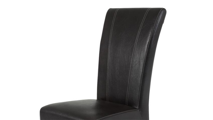 Polsterstuhl MARIE 2er Set Esszimmer Stuhl braun massiv