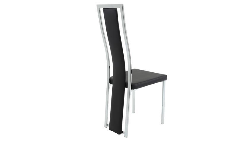 Stuhl LINEA 4er Set Esszimmerstuhl Lederlook schwarz chrom