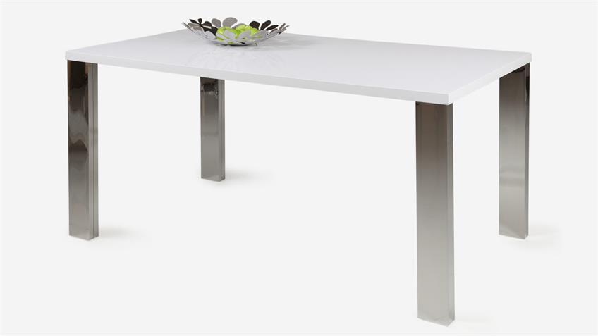 Tischgruppe LINEA ELLA weiß lackiert Stühle schwarz chrom