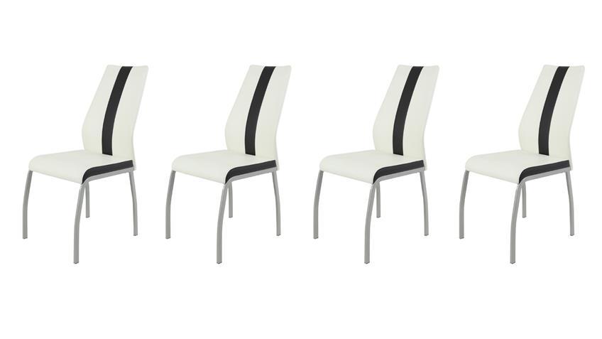 Stuhl Set TRIXI 4 Esszimmerstühle Lederlook weiß schwarz