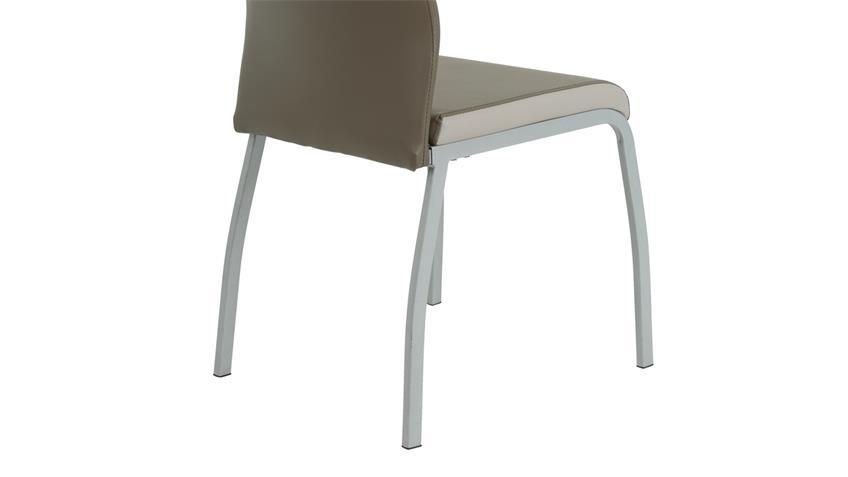 Stuhl Set TRIXI 4 Esszimmerstühle Lederlook cappucino beige