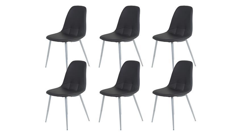 Esszimmerstuhl EMMETT 6er Set Lederlook gepolstert schwarz