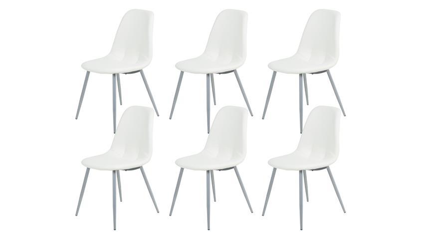 Esszimmerstuhl EMMETT 6er Set Lederlook gepolstert weiß