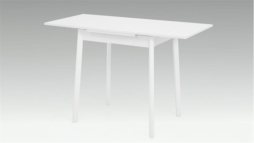 Esstisch TRIER 2 weiß Buche massiv Auszug 75-112 cm