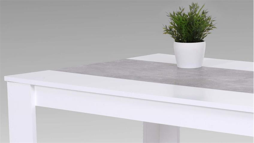 Küchentisch Esstisch Lilo Esszimmertisch weiß Betonoptik 140x80 cm