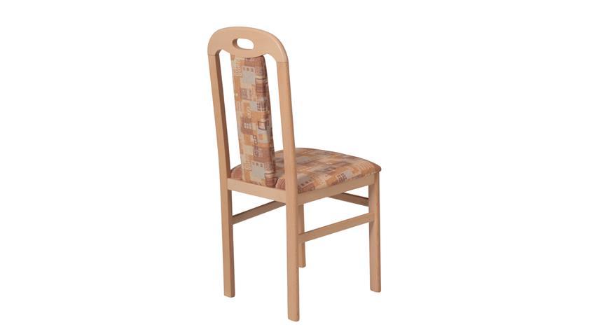 Stuhl SELMA 2er-Set Holzstuhl in Microfaser braun beige Buche massiv
