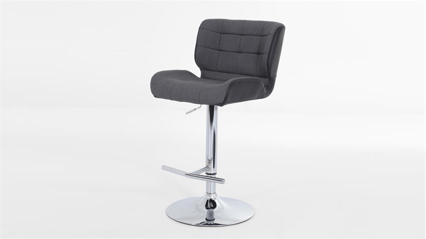 Barhocker CLARIS 2er-Set in grau und schwarz inkl. Höhenverstellung