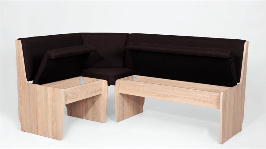 eckbank silke in stoff braun und sonoma eiche mit stauraum 167x120 cm. Black Bedroom Furniture Sets. Home Design Ideas
