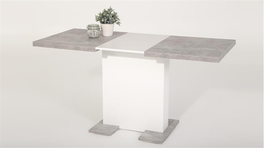 Küchentisch Esstisch BRITT Tisch Säulentisch Beton weiß 110-150 cm