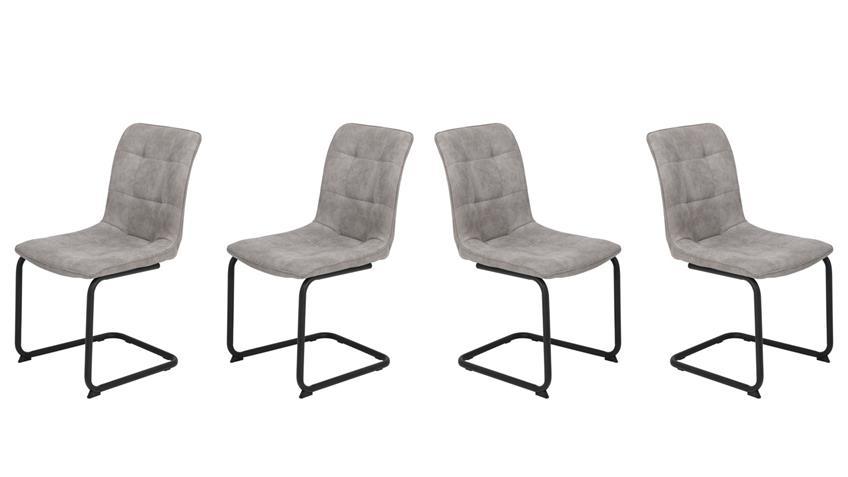 Schwingstuhl JENNY II 4er-Set Stuhl Stoff vintage grau