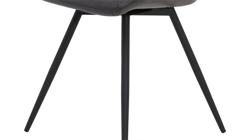 Stuhl AUGUSTA 4er-Set Stoff vintage anthrazit 360° drehbar