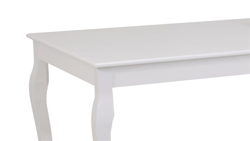 Esstisch YOLANDA MDF weiß Hochglanz lackiert 140x80 cm