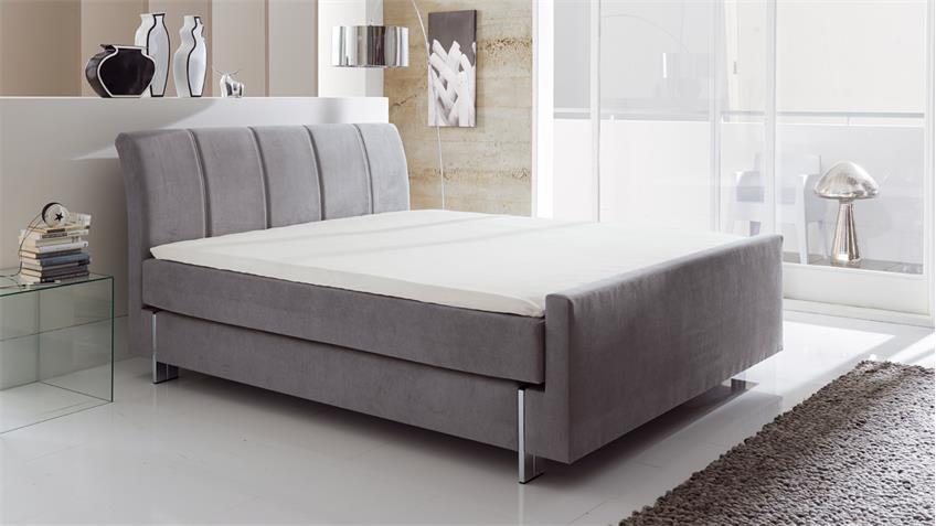 boxspringbett anima hotelbett in stoff grau 7 zonen ttfk 180x200 cm. Black Bedroom Furniture Sets. Home Design Ideas