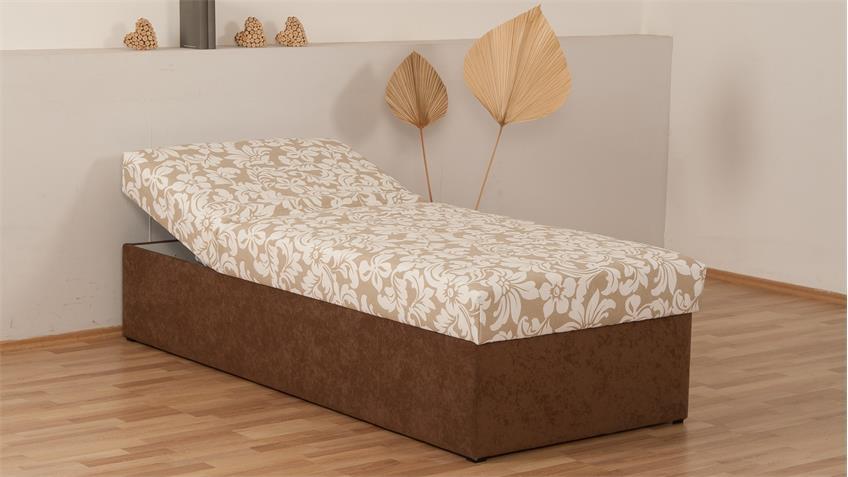 polsterliege tina stoff braun beige bonell federkern bettkasten 90x200