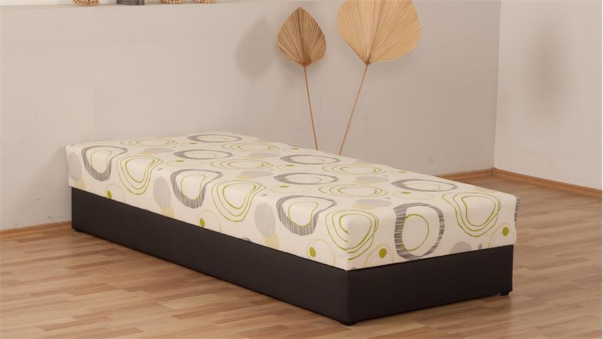 polsterliege kampen braun creme bonell federkern bettkasten 90x200 cm. Black Bedroom Furniture Sets. Home Design Ideas