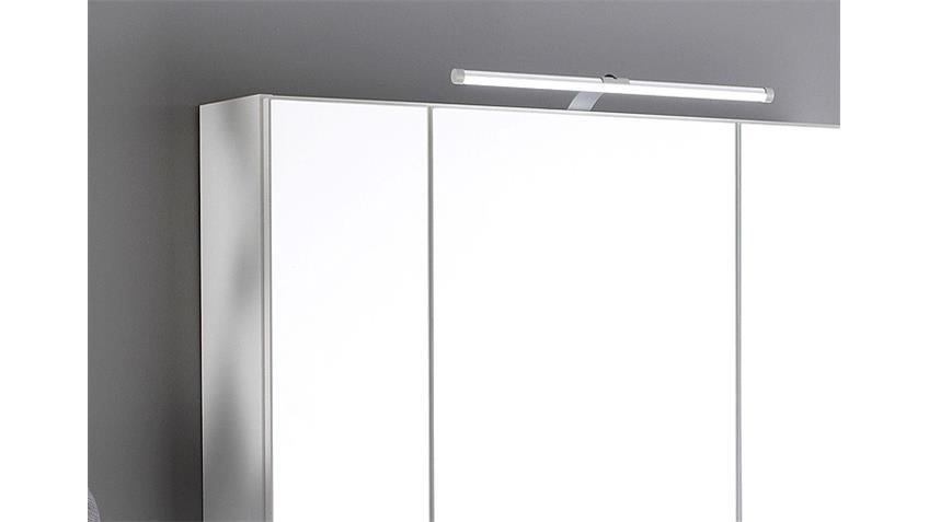Spiegelschrank BOLOGNA 80 cm Badmöbel weiß Aufbauleuchte