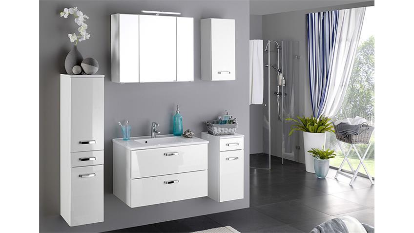 Badezimmer Set 1 BOLOGNA weiß Hochglanz inkl. Beleuchtung