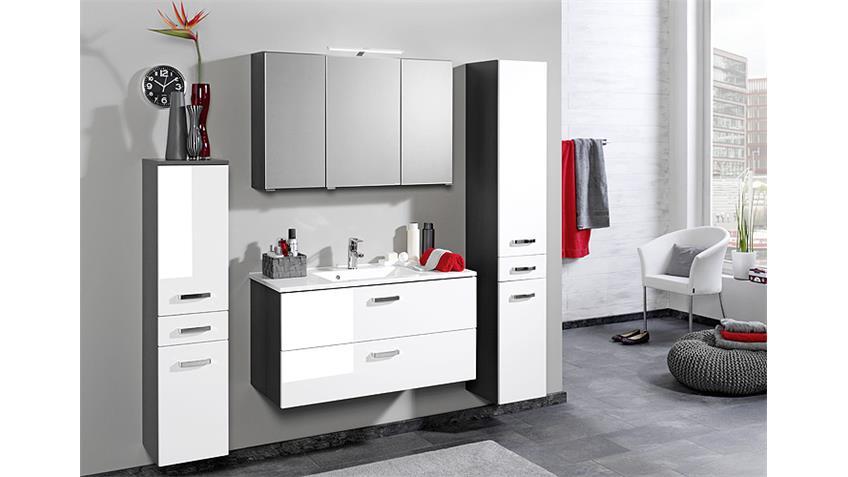 Waschtisch BOLOGNA 90 Badmöbel graphit grau weiß Hochglanz