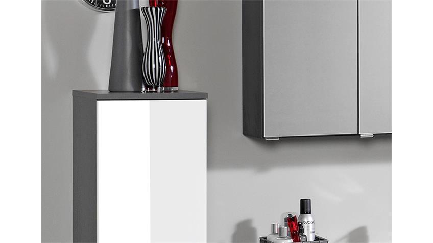 Badezimmer Set 2 BOLOGNA graphitgrau weiß Hochglanz LED