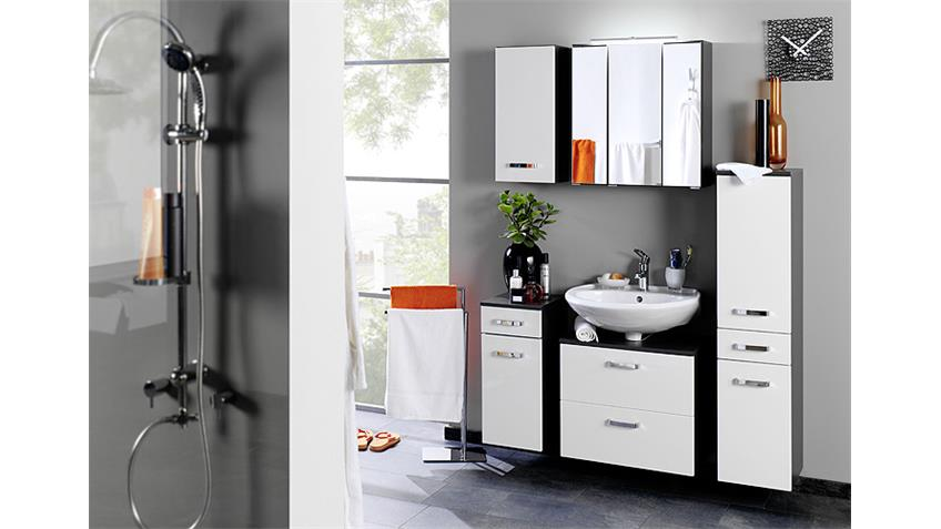 h ngeschrank bologna badm bel grau wei hochglanz softclose. Black Bedroom Furniture Sets. Home Design Ideas
