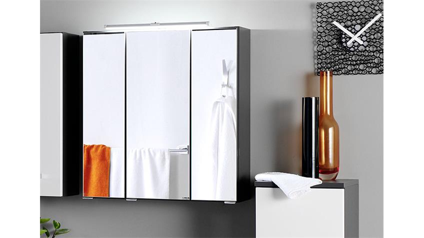 Badezimmer Set 3 BOLOGNA graphitgrau weiß Hochglanz LED