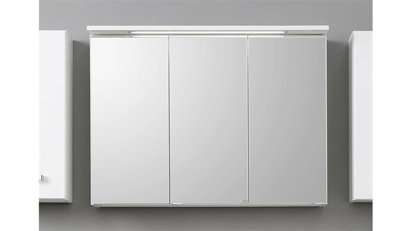 Badezimmer Set 4 BOLOGNA weiß Hochglanz inkl. Beleuchtung