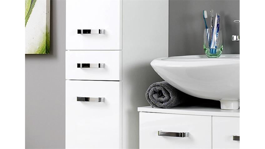 Badezimmer Set 5 BOLOGNA weiß Hochglanz inkl. Beleuchtung