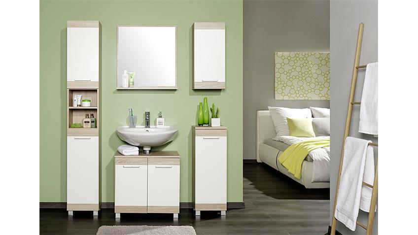 Badezimmer Set OHIO Sonoma Eiche weiß mit Spiegel