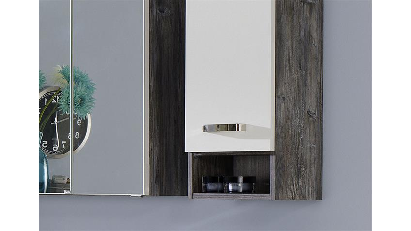 Badezimmer Set 1 CAPRI Eiche vintage weiß inkl. LED 7 tlg