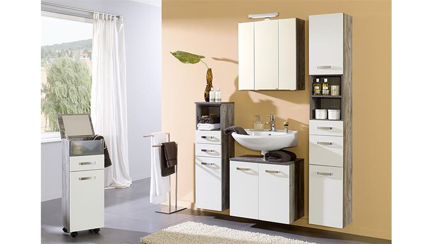 Badezimmer Set 2 CAPRI Eiche vintage weiß inkl. LED 5 tlg
