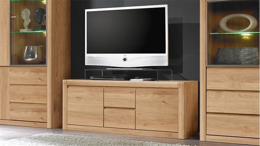 TV-Board PONTOS Lowboard in Eiche Bianco teilmassiv 147 cm
