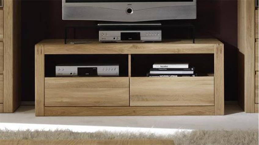 TV-Board PONTOS Lowboard in Eiche Bianco teilmassiv 128 cm