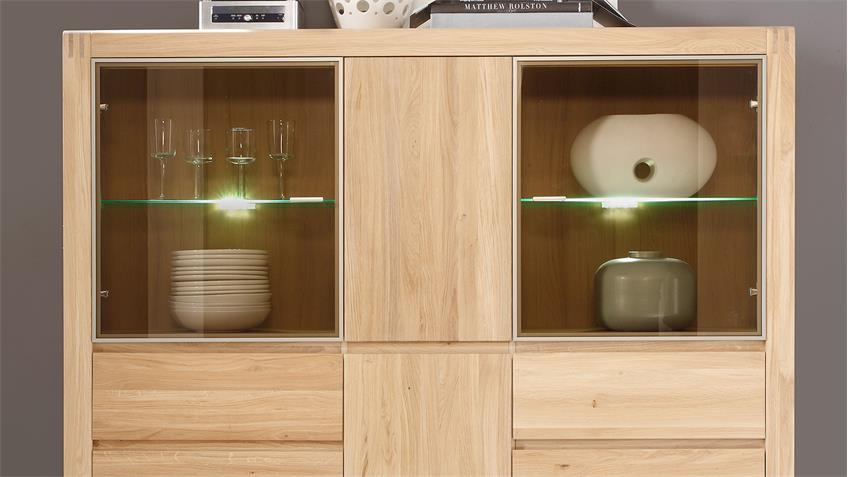 Highboard PONTOS Vitrine Buffet in Eiche Bianco teilmassiv