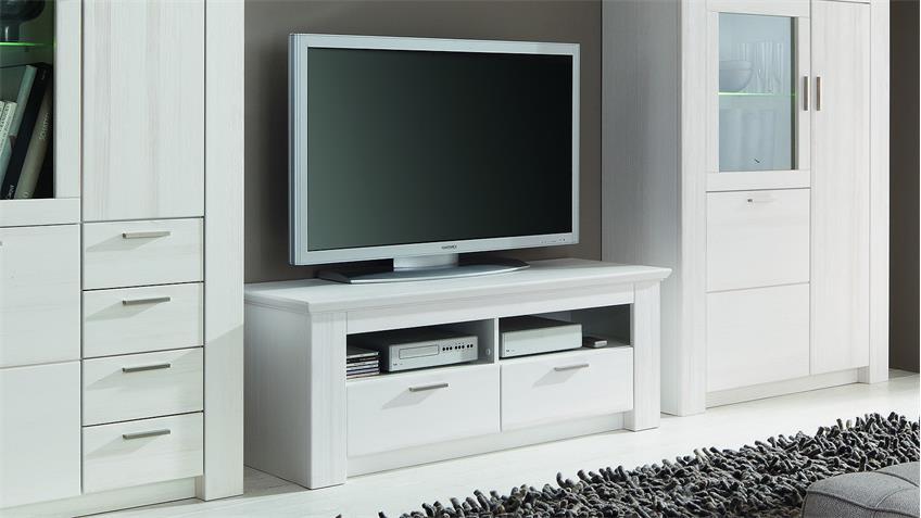 TV-Board COUNTRY Lowboard Landhaus Pinie weiß teilmassiv 130