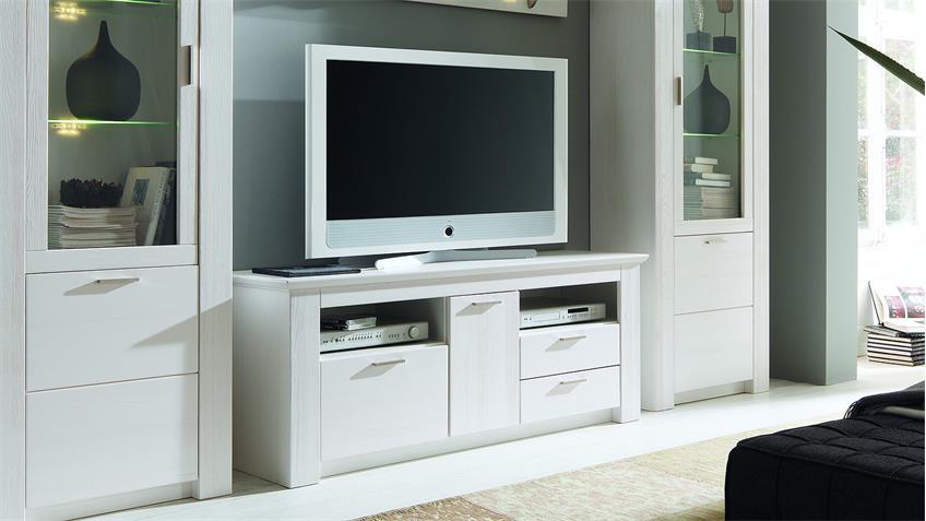 TV-Board COUNTRY Lowboard Landhaus Pinie weiß teilmassiv 162