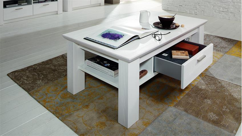 Couchtisch COUNTRY Tisch Landhaus in Pinie weiß teilmassiv