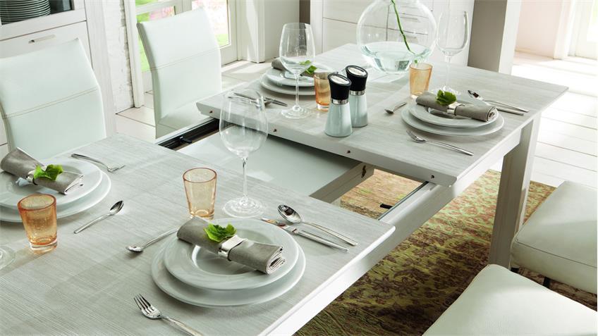 Esstisch COUNTRY Tisch Landhaus in Pinie weiß teilmassiv
