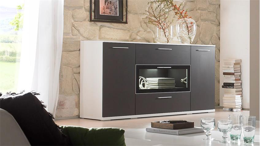 Sideboard INNOVATIONA Kommode Anrichte in graphit  weiß matt