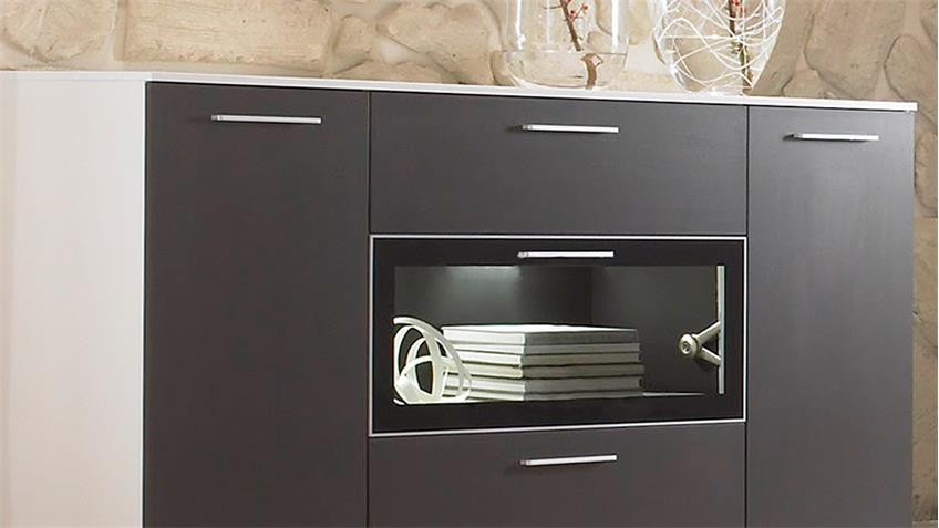 Sideboard INNOVATIONA Kommode Anrichte in graphit  weiß matt