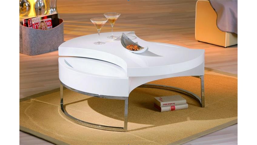 Couchtisch TURNO Beistelltisch Tisch in weiß hochglanz 100