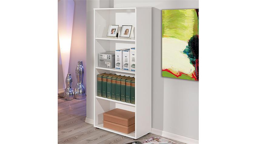 Regal ARCO 3 Bücherregal Büro Regal in weiß Höhe 145 cm